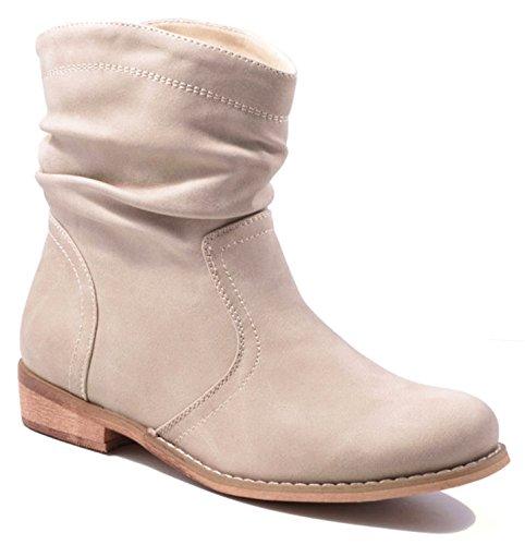 King Of Shoes Trendige Damen Stiefeletten Cowboy Western Stiefel Boots Schuhe 86HP Beige