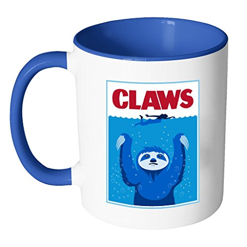 Sloth Claws Swimmer | Funny White 11 oz Accent Coffee Mug in Different - Hours Shop Run And Swim