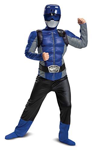 Power Ranger Costumes For Halloween (Disguise Blue Ranger Beast Morpher Boys' Muscle)
