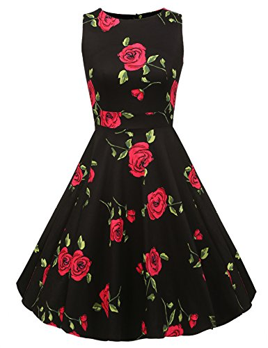 ACEVOG Vintage 1950's Floral Spring Garden Party Picnic Dress Party Cocktail Dress (M, Black Rose)
