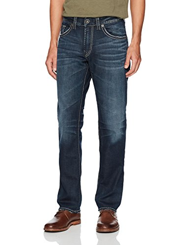 Silver Jeans Co. Men's Eddie Relaxed Fit Tapered Leg Jeans, Rinse Wash, 32W x 32L