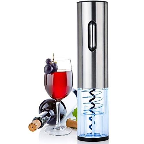 Electric Wine Bottle Opener, HCE Cordless Rechargeable Wine Opener, Automatic Corkscrew with USB Charging and Foil Cutter (Base), LED Indicator Light-Stainless Steel