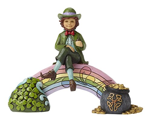 Enesco Jim Shore Heartwood Creek Leprechaun on Rainbow