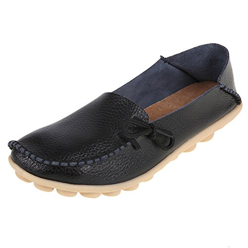 Black2 Pinpochyaw Shoes Flats Driving Leather Moccasin Loafers Casual Wild Womens qFTqZ