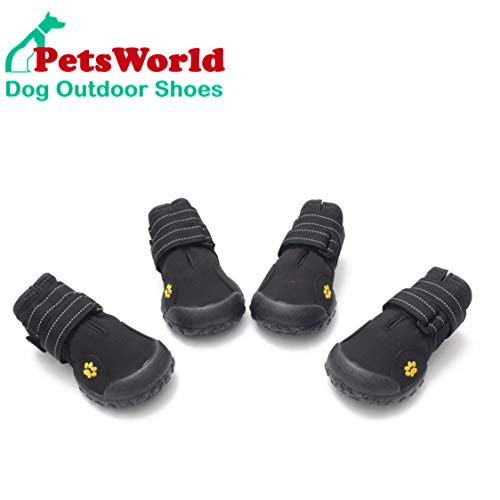 PETSWORLD Weather Resistant Dog Shoes with Reflective Double Straps Fleece Lining & Water Wesistant Oxford Fabric | Dog Boots Perfect for Small Medium Large Dogs | 5 Size
