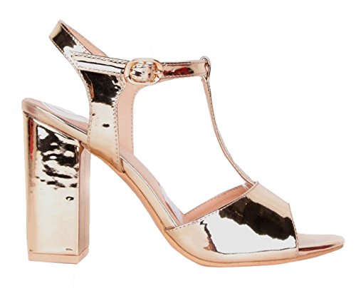 SHU CRAZY Womens Ladies High Block Heel Open Toe Peeptoe Party Dressy Sandals Shoes - K21 (UK 4/EU 37, Gold)