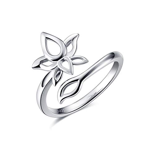YFN Yoga Lotus Flower Sterling Silver Band Ring with Om Symbol Lotus Flower Jewelry for Mom Women Wife Mother Day Birthday Gift (Lotus Flower Ring) (Om Symbol Ring)