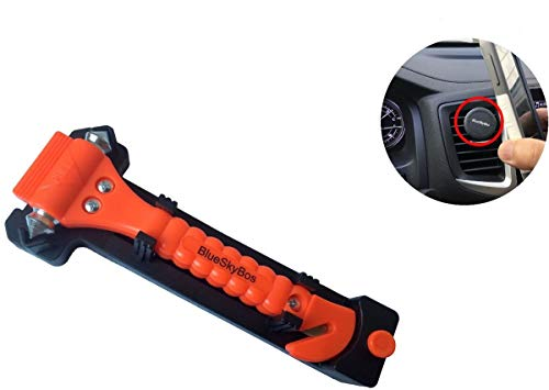 BlueSkyBos Super Value Set - Emergency Escape Tool Auto Car Window Glass Hammer Breaker and Seat Belt Cutter Escape 2-in-1 Tool, Plus a Car Vent Mount Phone ()