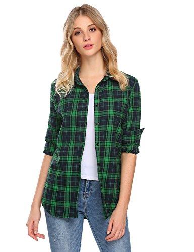 Flannel Plaid Womens (Zeagoo Women Casual Plaid Turn Down Collar Shirts Long Sleeve Blouses Tops Green/S)