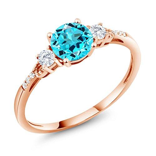 Rose Ring Sapphire (1.04 Ct Round Swiss Blue Topaz White Created Sapphire 10K Rose Gold Ring)