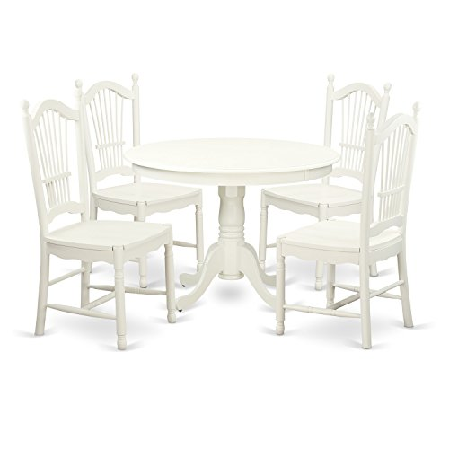 East West Furniture HLDO5-LWH-W 5Piece Hartland Set with One Round 42in Dinette Table & 4 Dinette Chairs with Wood Seat in a Linen White Finish