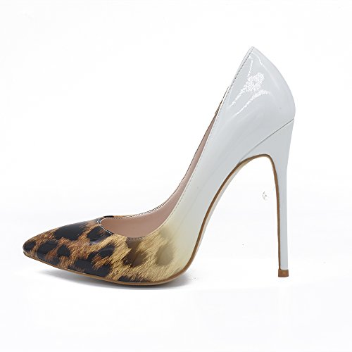 Pumps Women Dress White Pointed High Leopard Printed Leopard Heel Toe Slip On Sexy Shoes Stilettos Fashion GENSHUO Brown Gradient YOqCC