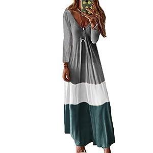 Fansu Vestidos Largos Casual Talla Grandes Mujer Boho Maxi Dress Fiesta Vestido Elegantes Sexy Cuello en V Fiesta Ropa… | DeHippies.com