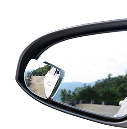 "Moyishi 2"" 360° Rotate + Sway Adjustabe Fan Shaped Blind Spot Mirrors, Ampper Universal Fit Convex (LOW Curvature) Frameless HD Glass Stick On Lens (2 Pack)"