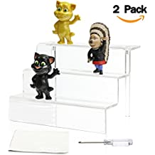 NIUBEE Acrylic Riser Display Shelf for Amiibo Funko POP Figures, Cupcakes Stand for Cabinet, Countertops, Table - 3-Tier, Clear (9×6-2 Pack)