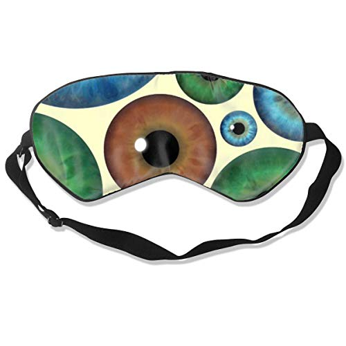 (XINNAN Soft and Comfortable,Silk Material,Unique Design Blue Green Brown Iris Eyeballs Custom Blindfold Total Blackout & Light Blocking Eyeshade Cover with Adjustable Strap Eye Mask)