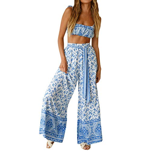 2Piece Womens Boho Casual Outfits Set,Shoulder Tie Floral Print Crop Top Flared Belt Wide Leg Palazzo Pants Suit Blue