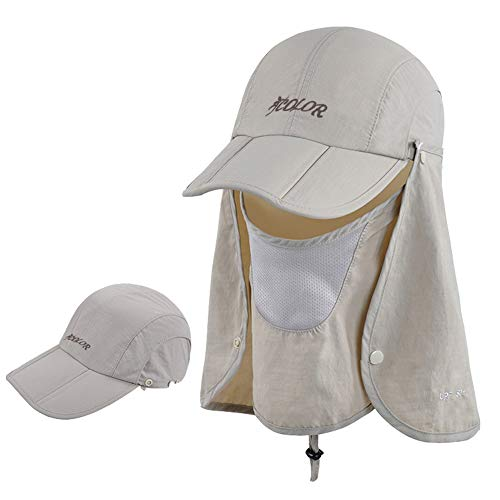 ICOLOR 360° Protection Folding Sun Hat, Flap Hats Man Women UPF 50+ Cycling Sun Cap, Removable Neck & Face Flap Cover Caps for Baseball, Hiking, Fishing Outdoor Camping Activities (Khaki) ()