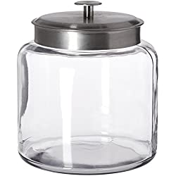 Anchor Hocking Montana Glass Jar with Airtight Lid, Brushed Metal, 1.5 Gallon 1-1/2 gallons