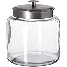 Anchor Hocking Montana Glass Jar with Fresh Sealed Lid, Brushed Metal, 1.5 Gallon