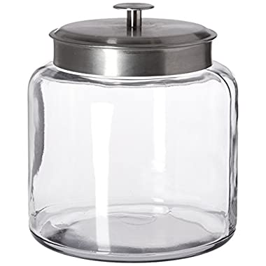 Anchor Hocking Montana Glass Jar with Airtight Lid, Brushed Metal, 1.5 Gallon