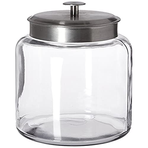 Anchor Hocking Montana Glass Jar With Airtight Lid, Brushed Metal, 1.5  Gallon