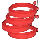 PROFESSIONAL Silicone Egg Ring- Pancake Breakfast Sandwiches - Benedict Eggs - Omelets and More Nonstick Mold Ring Round, Red (4-pack)