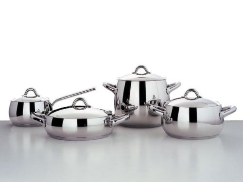 Alessi,SG102/24 ''MAMI'', Low casserole with two handles in 18/10 stainless steel mirror polished,2 qt 32 oz