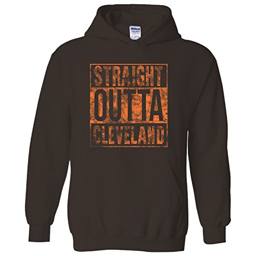 Cleveland Browns Hoody Sweatshirt - UGP Campus Apparel Straight Outta Cleveland Hoodie - Large - Brown