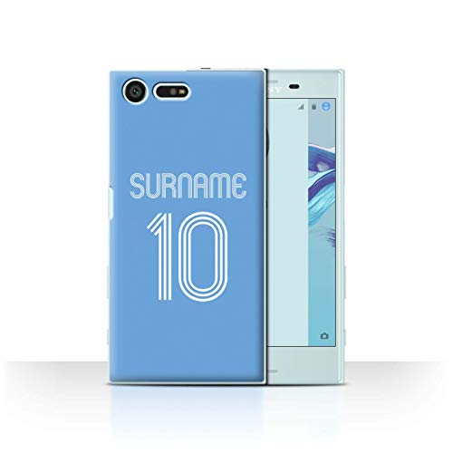 Personalized Custom Soccer Club Jersey Shirt Kit Case for Sony Xperia X Compact/Sky Blue Design/Initial/Name/Text DIY Cover