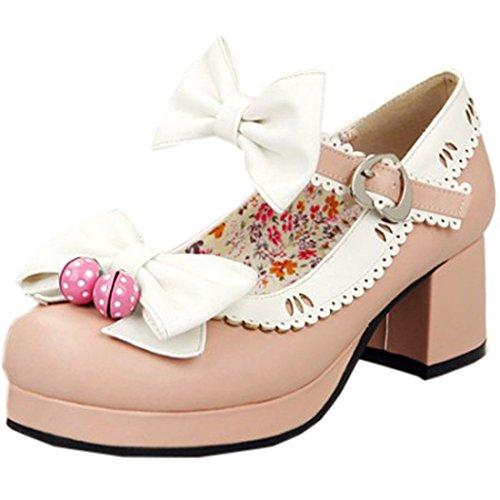 Partiss Damen Sweet Lolita High-top Casual Schuhen Lolita Pumps Herbst Fruehling Hochzeit Tanzenball Maskerade Cosplay Bowknots Platform Pumps Lolita Shoes,39,White