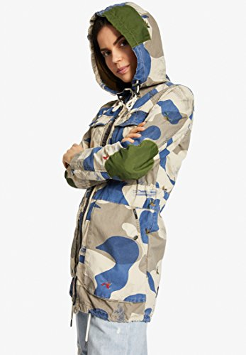 Teñido Abrigo Blusa Mujer Estampado Khujo Larga Efecto Beige Manga Para tRqddaw