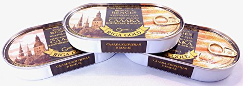 Price comparison product image Riga Gold Rigas Zelts Renges Smoked Baltic Herring In Oil. 3 Pack (6.7 Oz Each)