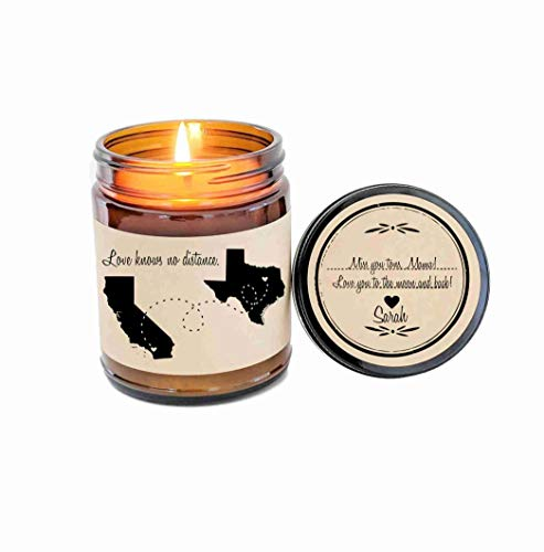 (Long Distance Mothers Day Gift Gift for Mom Love Knows No Distance Gift Scented Candle Mom Birthday Gift for Mom Gift for Mother)