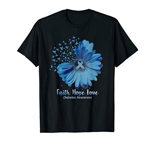 Faith Hope Love Diabetes Awareness Sunflower T-Shirt (Diabetes Awareness Apparel)