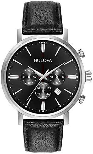 Bulova Men s Stainless Steel Analog-Quartz Watch with Leather Strap, Black, 20 Model 96B262