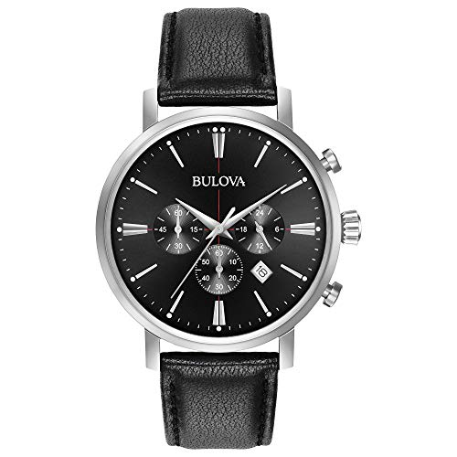 Bulova Men's Quartz Stainless Steel and Leather Casual Watch, Color:Black (Model: 96B262) -