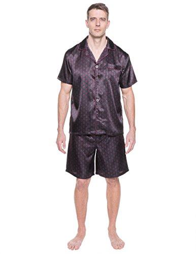 Noble Mount Twin Boat Men's Satin Short Pajama Set - Paisley Black/Fig - X-Large