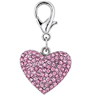 PetFavorites Couture Designer Fancy Bling Rhinestone Heart Pet Cat Dog Necklace Collar Charm Pendant Jewelry (Pink)