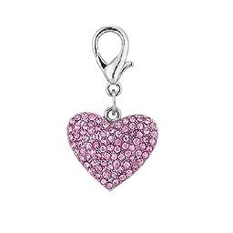 "PETFAVORITESâ""¢ Couture Designer Fancy Bling Rhinestone Heart Pet Cat Dog Necklace Collar Charm Pendant Jewelry (Pink)"