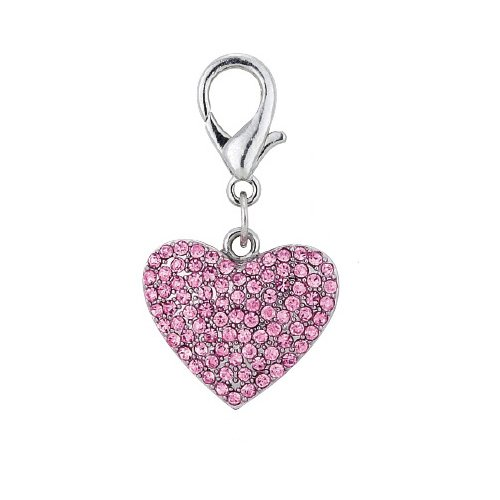 PETFAVORITES™ Couture Designer Fancy Bling Rhinestone Heart Pet Cat Dog Necklace Collar Charm Pendant Jewelry (Pink)