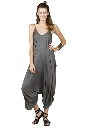 Solid Color Ladies Spaghetti Strap Loose Fit Harem Jumper Multi Color Available (Medium, CHARCOAL)