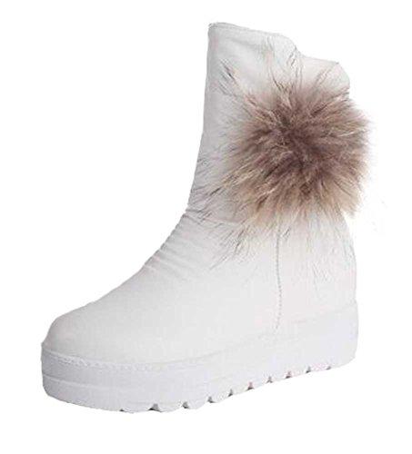 Chfso Donna Trendy Solido Impermeabile Eco-pelliccia Foderato Cerniera Piattaforma Tacco Medio Inverno Caldo Stivali Da Neve Bianco