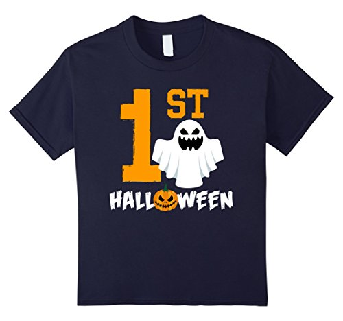 Funny 1 Year Old Halloween Costumes - Kids 1st Halloween Baby Spooky Pumpkin Halloween T-shirts 12 Navy