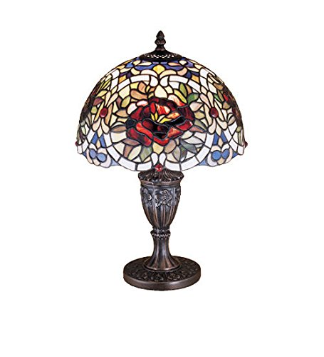 Tiffany Style Stained Glass Renaissance Rose Accent Lamp