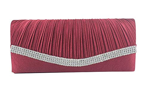 (Chicastic Wine Red Pleated Satin Wedding Evening Bridal Clutch Purse With)