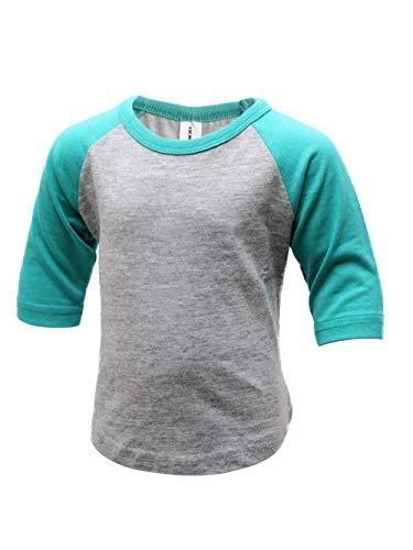 Raglan Tone T-shirt (ILTEX Kids Baseball Raglan T-Shirt 3/4 Infant/Toddler/Youth (2T, H.Gray/Tiffany))