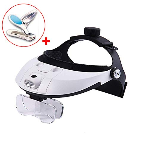 EMOGA Lighted Headset Magnifying Glasses, with 2Led Lights Head-Free Magnifier Loupe for Electronics Eyelash Crafts Jewelry Circuit Watch Repair,1.0X,1.5X,2.0X,2.5X,3.5X
