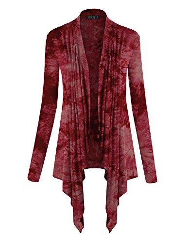 WSK1072 Womens Off-Duty Open Front Tie Dye Cardigan S Wine