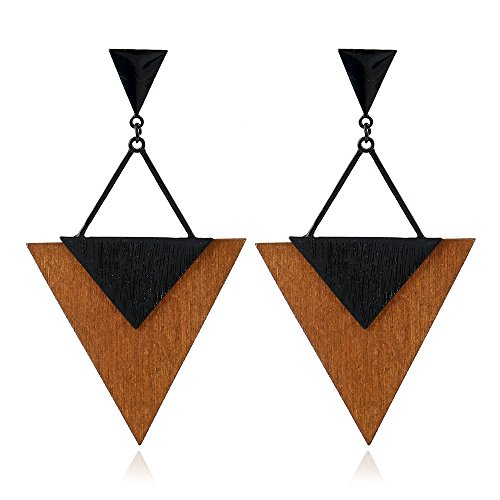 Alloy Wood Grain Earrings for Women Triangle Shape Big Statement Beautiful Earrings